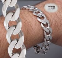 "HEAVY CURB LINK CHAIN STAMPED 925 STERLING SOLID SILVER MENS BRACELET  8.5"" 9"""