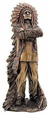11.5 Inch Cold Cast Bronze Chief Sitting Bull with Crossed Arms Statue (3168)