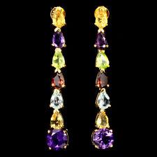 925 Sterling Silber Ohrringe Gelbgold beschichtet Citrin Amethyst Topas Peridot