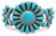 Navajo Handmade Sterling Silver Turquoise Cluster Bracelet - Rosanna Williams