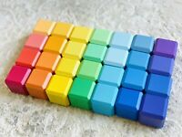 Colorful Wooden Blocks 28pcs in linen bag