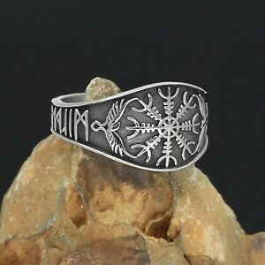 Helm of Awe Viking Ring Silver Stainless Steel Norse Odins Ravens Rune Band