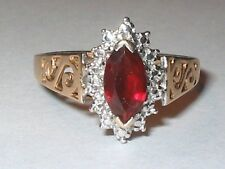 "Vintage 10k gold created ruby gemstone promise friendship cocktail ""S"" ring Sz 7"