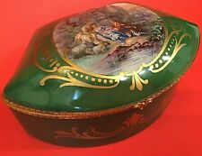 SEVRES FRANCE JEWELRY CASKET ARTIST SIGNED HAND PAINTED COURTING COUPLE LIMOGE