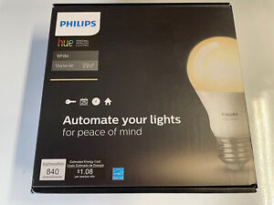 Philips - Hue A19 60W Equivalent Wireless Starter Kit - White