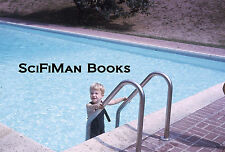 KODACHROME 35mm Slide Swimming Pool Cute Blonde Boy Overalls Ladder Deck 1966!!!