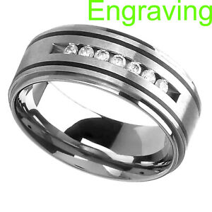 9mm Titanium Round Cubic Zirconia Step Edge Black Strip Men's Wedding Band