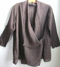 FLAX Designs  LINEN JACKET Wrap   M   L    NWOT  Coffee Windowpane CLEARANCE