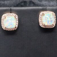 Vintage Princess White Fire Opal Earrings Nickel Free Jewelry Gift 14K Rose Gold
