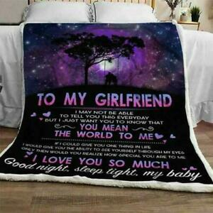 To My Girlfriend You Mean The World To Me Quilt, Fleece Blanket