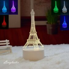 Eiffel Tower 3D illusion Visual Night Light LED Desk Table Lamp Bedroom Decor.