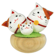 Japanese Happy Family Lucky Maneki Neko Cats Wooden Tumbler Doll Decor Figurine