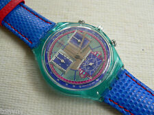 1994 Swiss Swatch Watch Chronograph Echo deco Leather band SCN112 New