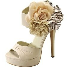 Sexy Womens Party Shoes Size 7 AU Beige Open Toe Sandals Pump Platform High Heel