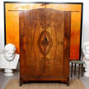 Art Deco Walnut Wardrobe Vintage Arched Armoire