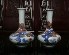 Pair Old Blue and White Chinese Porcelain Pine Tree Vases