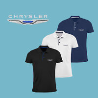 Homme Chrysler Slim Fit Polo Shirt Auto Voiture Logo Brodé T Shirt Tee Charger
