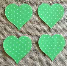 Pack of 4 Small Hearts - Fabric Iron on - Green Polka Dot -Personalisation