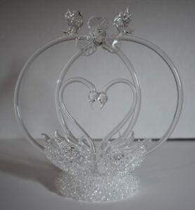 Romantic Swans Hand Blown Glass Wedding Cake Topper  (NEW)