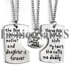 3PCS Fashion Family Gifts Heart Love Hot Keychain & Necklace Daughter Dad Mother