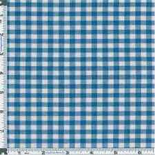 Picnic Blue Gingham Cotton Shirting, Fabric By The Yard