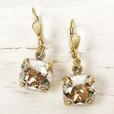 La Vie Parisienne Catherine Popesco Square Swarovski Crystal Earrings in Clear