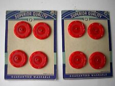 Vintage Red Buttons 2 cards of 4 Superior Quality Brand