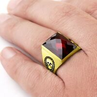 Mens Skull Ring 14K SOLID YELLOW GOLD Red Garnet Gemstone Biker Gothic Jewelry