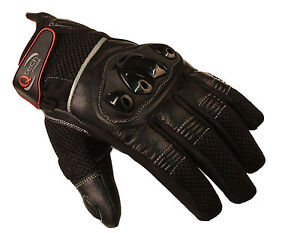 MOTORCYCLE Motorbike GLOVES Sports Short Cuff Protected Knuckle in BLACK