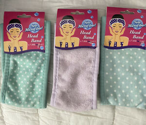 Microfiber  Head Band  By Turbie Twist Set Of 3. Two Blue W Dots And One Violet