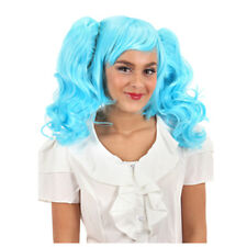 Anime Blue Wig with 2 Clip on Pony Tails Adult Halloween Sexy Costume Accessory