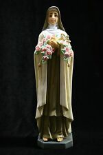 "Saint St Therese Little Roses Flower Religious Catholic 11"" Statue Made in Italy"