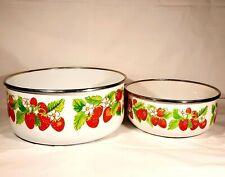 Vintage Kitchen Metal Enameled Strawberry Nesting Bowls Set of Two Enamelware