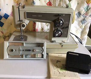 VINTAGE KENMORE SEWING MACHINE MODEL 1430, portable zig zag, WITH ATTACHMENTS