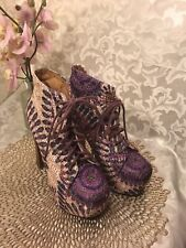 JEFFREY CAMPBELL LITA  FAB PURPLE BEIGE FEATHER  EYELET  BOOTS US 6M EUC