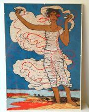 Salvatore Fiume, Odalisca, serigrafia su damasco, 70x50 cm
