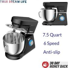Electric Stand Mixer with Dough Hooks Heavy Duty Black Large 6 Speed 7.5 Quart