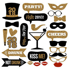 26PCS 2018 New Year's Eve Party Card Masks Photo Booth Props Decorations US SHIP