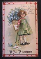 Clapsaddle Valentine Vintage Postcard Wolf & Co Girl~Flowers~Heart~ Border-b535