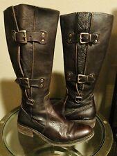 CORDANI 6(B)M EUR 36 Italian Dark Brown Pebble Leather Three Buckled Riding Boot