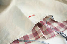 Antique French conforter cover LINEN KELSCH pink red check c1850