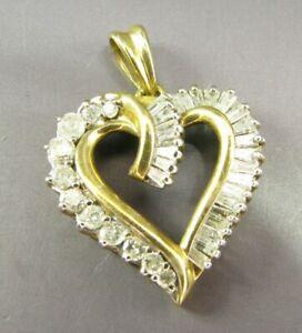 10K YELLOW GOLD Vintage 1.0TCW DIAMOND HEART PENDANT Round & Baguettes GORGEOUS!