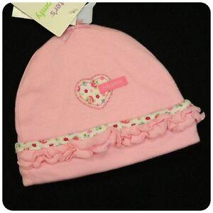 New NWT CARTERS CAP HAT~BABY GIRLS~PINK HEART+ FLOWER~Newborn 0-3 month & 3-9 M