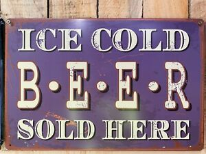 Vintage Tin Bar Sign Man Cave Free Shipping Ice Cold Beer Melbourne Stock