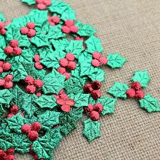 Christmas Holly and Berries Fabric Embellishments Card Making Toppers Crafts