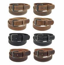 "Men's_Buffalo Leather Stitched Belt_1 1/4""_Gun Metal Buckle_Amish Handmade_135"