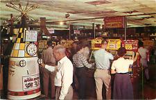 RENO NV THE NUGGET GAMBLING CASINO SLOT MACHINES CHROME POSTCARD