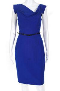 Black Halo Womens Cap Sleeve Belted Sheath Dress Blue Black Size 6