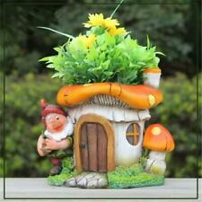 Sintechno Cute Gnome with Mushroom House Flower Pot Planter