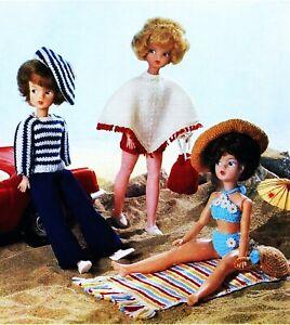 Sindy Barbie Knitting Pattern Dolls Clothes 4 ply Poncho Bag Bikini Beach Wear